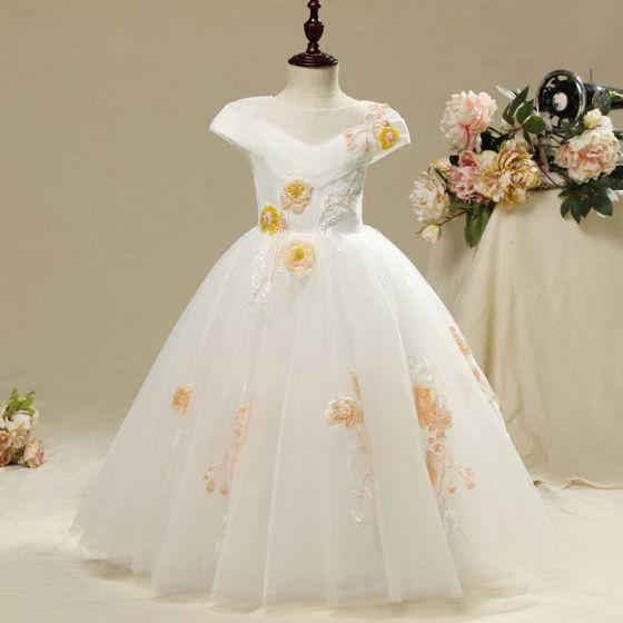 3621d3e5b Hermoso Lglesia Vestidos para bodas 2017 Vestidos para niñas Blanco A-Line    Princess Largos Volantes En Cascada ...
