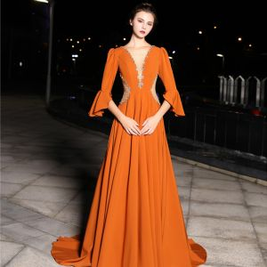 Luxury / Gorgeous Orange Evening Dresses  2019 A-Line / Princess See-through Deep V-Neck 3/4 Sleeve Bell sleeves Beading Pearl Crystal Rhinestone Sweep Train Backless Formal Dresses