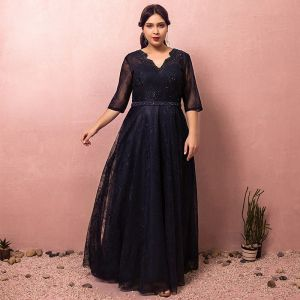 Classy Classic Elegant Navy Blue Plus Size Evening Dresses  2018 A-Line / Princess Tulle V-Neck Lace-up Handmade  Backless Beading Evening Party Formal Dresses
