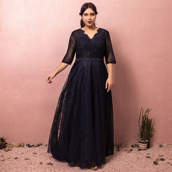 Classy Classic Elegant Navy Blue Plus Size Evening Dresses 2018 A-Line /  Princess Tulle V-Neck Lace-up Handmade Backless Beading Evening Party  Formal ...