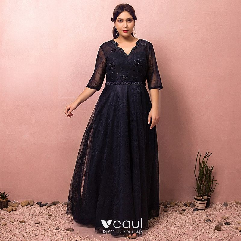 Classy Classic Elegant Navy Blue Plus Size Evening Dresses 2018 A Line Princess Tulle V Neck Lace Up Handmade Backless Beading Evening Party Formal