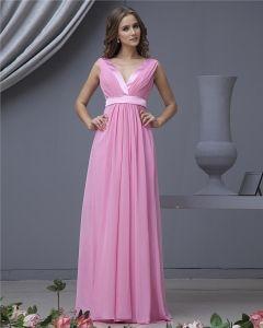Chiffon Mit V-ausschnitt Bodenlangen Brautjungfernkleider Trauzeugin Kleid