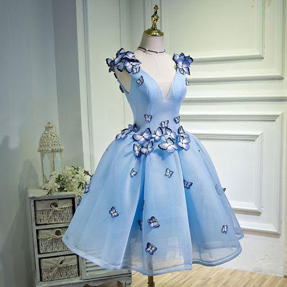 Hermoso Azul Cielo Vestidos de graduación 2018 A-Line / Princess V-Cuello Tul mariposa Apliques Sin Espalda de fiesta Vestidos Formales