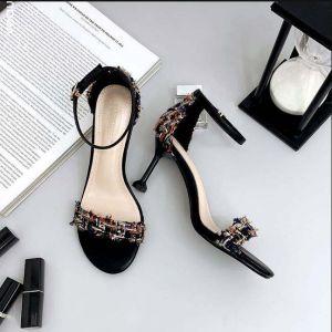 Rimelig Svart Casual Sandaler Dame 2019 Ankelstropp 7 cm Stiletthæler Peep Toe Sandaler