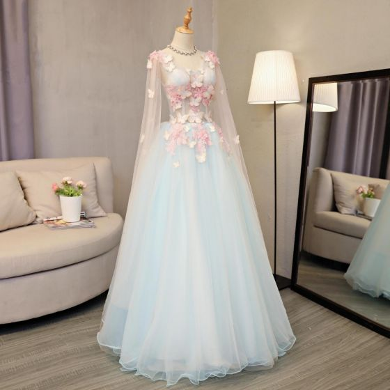 Flower Fairy Sky Blue Prom Dresses 2018 A-Line / Princess Appliques Sequins V-Neck Backless Long Sleeve Floor-Length / Long Formal Dresses
