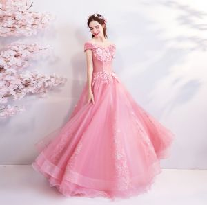 Flower Fairy Candy Pink Floor-Length / Long Prom Dresses 2018 Ball Gown Tulle Strapless Appliques Backless Beading Prom Evening Dresses