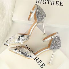 Affordable Silver Casual Womens Shoes 2019 Ankle Strap Sequins 9 cm Stiletto Heels Pointed Toe High Heels
