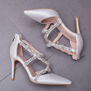 Elegant White Wedding Shoes 2018 Rhinestone X-Strap 9 cm Stiletto Heels Pointed Toe Wedding Pumps