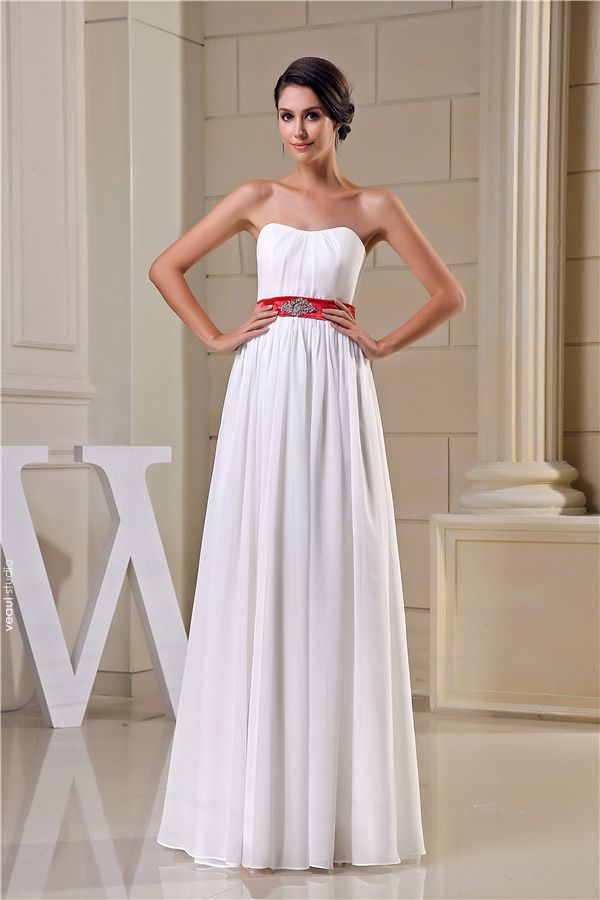 2015 Simple Empire Wedding Dress Floor Length Bridal Gown With Red Sash