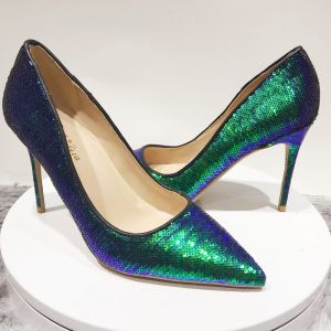 Sparkly Dark Green Multi-Colors Cocktail Party Pumps 2020 Sequins 12 cm Stiletto Heels Pointed Toe Pumps