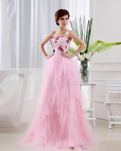 Satin Gauze Sequins Flower Sweetheart Sleeveless Backless Floor Length Tiered Prom Dress
