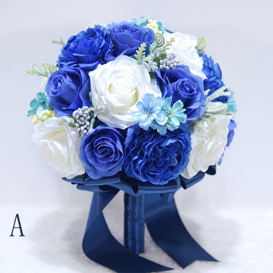 Chic / Belle Bleu Roi Bouquet De Mariée 2020 Cristal Fleur Fleurs Artificielles La Mariée Mariage Promo Accessorize