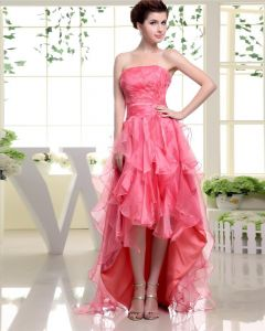 Strapless Sleeveless Zipper Pleated Beading Layered Dip Hem Ankle Length Woman Prom Dress