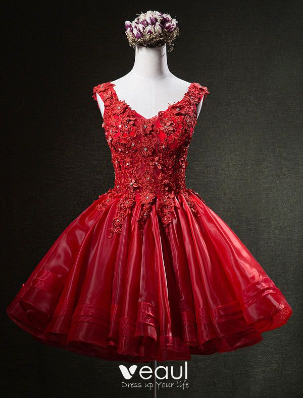 Vestidos Cortos De Fiesta En Color Rojo Vestidos Baratos