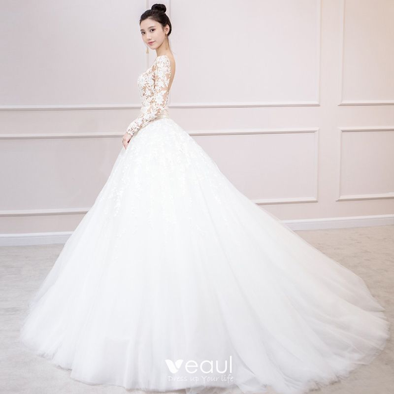Dressv Ivory Wedding Dress Strapless Long Sleeves Chapel: Charming Ivory Wedding Dresses 2019 A-Line / Princess Long