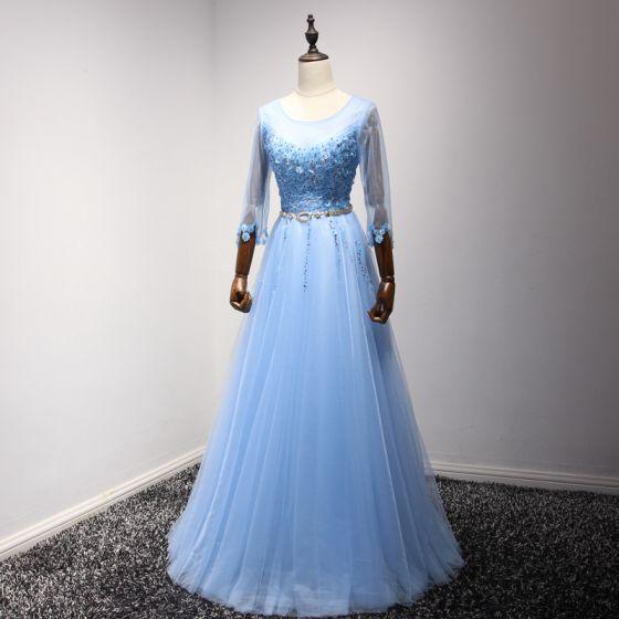 Chic / Beautiful Pool Blue Evening Dresses  2017 A-Line / Princess Scoop Neck 3/4 Sleeve Appliques Flower Pearl Sequins Rhinestone Beading Metal Sash Floor-Length / Long Ruffle Backless Formal Dresses