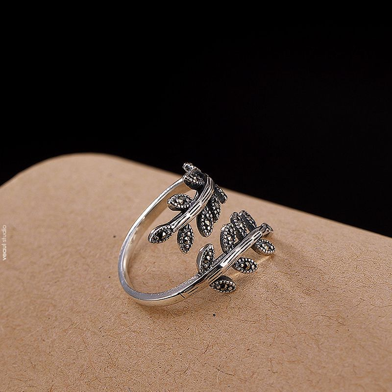 Chic / Beautiful Silver Leaf Rhinestone Handmade  Ring Sterling Silver Rave Club Rings 2019 Accessories