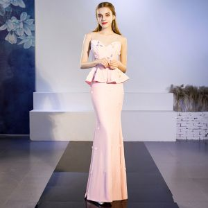 Chic / Beautiful Blushing Pink See-through Evening Dresses  2019 Trumpet / Mermaid Scoop Neck Sleeveless Appliques Flower Beading Floor-Length / Long Ruffle Formal Dresses