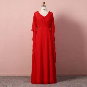 Simple Rouge Robe De Soirée 2020 Princesse Manches Longues U-Cou Tulle En Dentelle Couleur Unie Fait main Longue Soirée Robe De Ceremonie