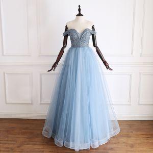 Luxe Bleu Robe De Soirée 2019 Princesse De l'épaule Manches Courtes Fait main Perlage Glitter Tulle Longue Volants Dos Nu Robe De Ceremonie