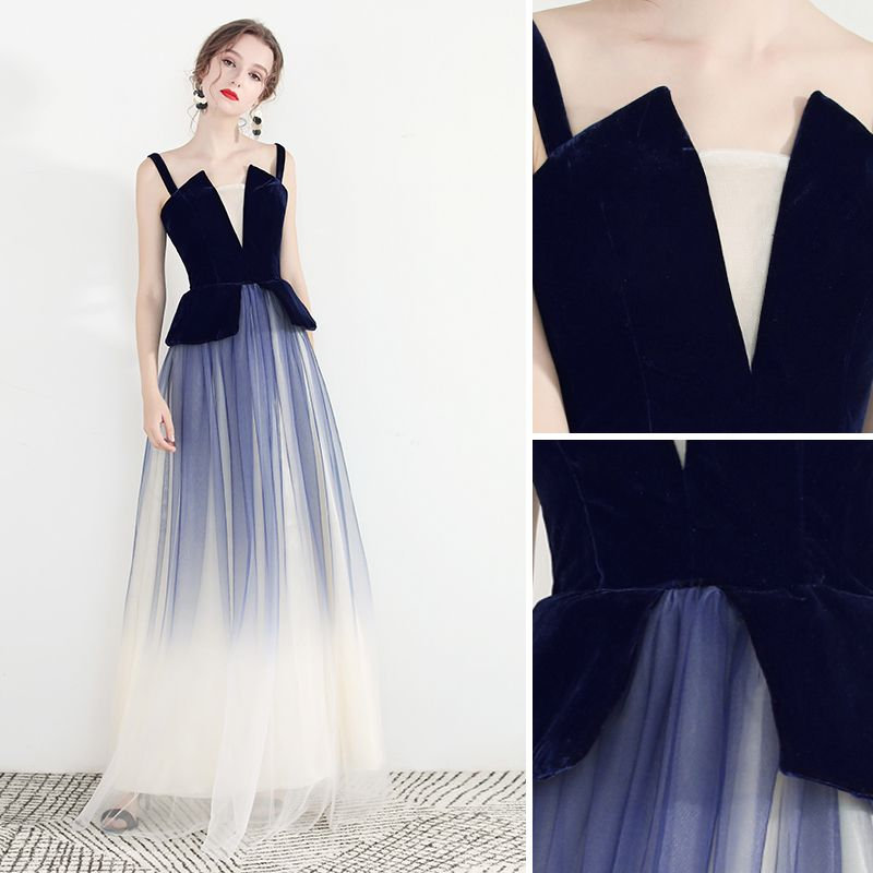 Chic / Beautiful Navy Blue Gradient-Color Evening Dresses  2019 A-Line / Princess Spaghetti Straps Sleeveless Backless Floor-Length / Long Formal Dresses