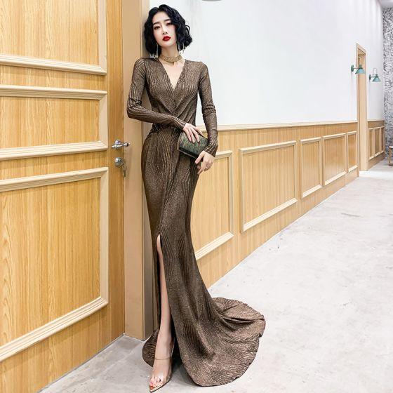 Elegante Bronze Abendkleider 2020 Meerjungfrau Tiefer V-Ausschnitt Lange Ärmel Gespaltete Front Sweep / Pinsel Zug Festliche Kleider
