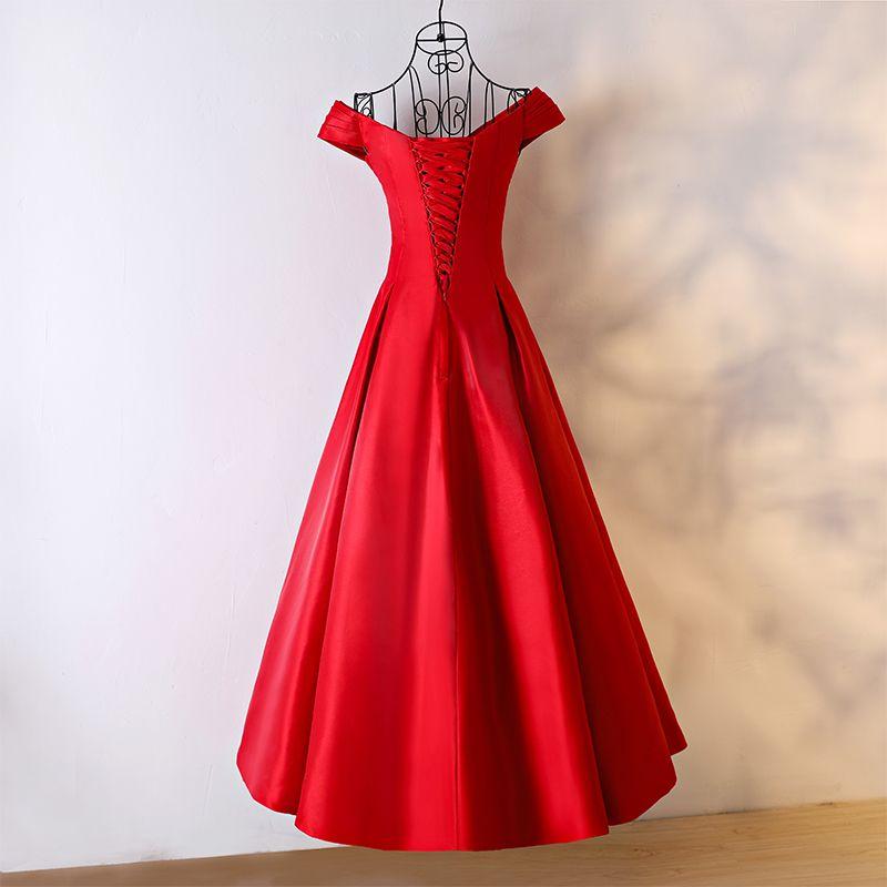 Schöne Rot Abendkleider 2017 A Linie V-Ausschnitt Ärmellos Knöchellänge Abend