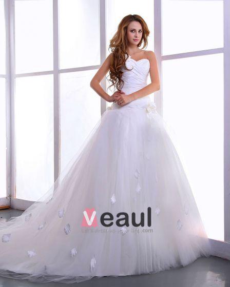 Satin Garn Blommor Domstol Brud Balklänning Brudklänningar Bröllopsklänningar