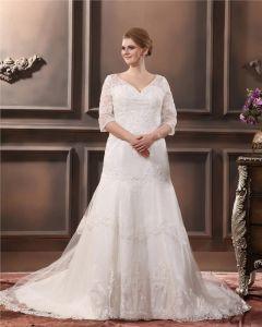 Applique De Lacet De Perles V Cou Plus La Taille Robe De Mariage Nuptiale Robe