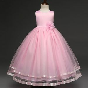 Chic / Beautiful Candy Pink Flower Girl Dresses 2017 A-Line / Princess U-Neck Appliques Lace Butterfly Wedding