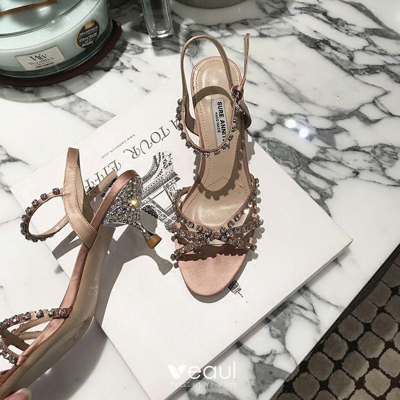 Charmant Beige Cocktail Fait main Sandales Femme 2020 Faux