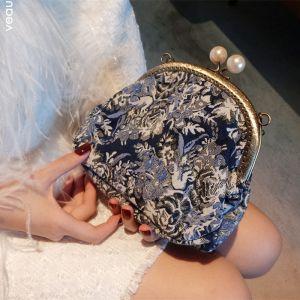 Vintage / Originale Bleu Marine Brodé Pochette 2018