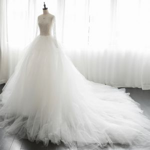 Luxury / Gorgeous Ivory Pierced Wedding Dresses 2019 A-Line / Princess Scoop Neck Long Sleeve Handmade  Beading Chapel Train Ruffle