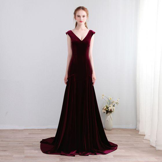 49cfb3047 Moda Borgoña Colas De La Corte Vestidos de noche 2018 Charmeuse V-Cuello A- Line   Princess ...