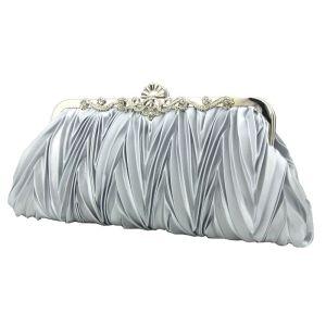 Klassieke Elegante Zilveren Handtassen Gestreept Kralen Rhinestone Velour Huwelijk Feest Accessoires 2019