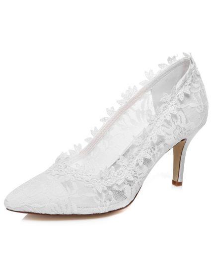 White Wedding Shoes | Beautiful Lace Bridal Shoes 3 Inch Stiletto Heels White Wedding