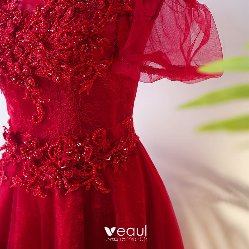 Chic / Beautiful Red Chinese style Evening Dresses  2017 A-Line / Princess High Neck Short Sleeve Crossed Straps Appliques Beading Flower Floor-Length / Long Evening Party