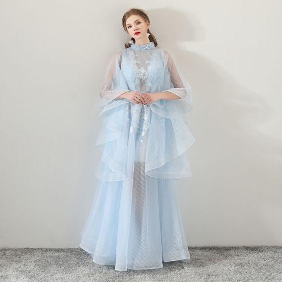 828a1579b2 Najpiękniejsze   Ekskluzywne Błękitne Przezroczyste Sukienki Wieczorowe  2018 Princessa Wysokiej Szyi Długie Rękawy Aplikacje Z Koronki Szarfa ...