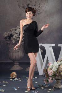 Niedlich One Shoulder Langarm Schwarzen Cocktailkleid Einfach Partykleid