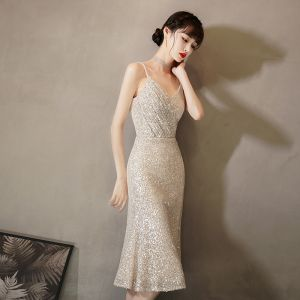 Sparkly Gold Sequins Cocktail Dresses 2020 Trumpet / Mermaid Spaghetti Straps Sleeveless Tea-length Formal Dresses