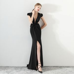 Sexy Black See-through Evening Dresses  2018 Trumpet / Mermaid V-Neck Cap Sleeves Split Front Court Train Formal Dresses