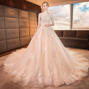 Luxury / Gorgeous Champagne Wedding Dresses 2019 A-Line / Princess Square Neckline 1/2 Sleeves Backless Appliques Lace Beading Glitter Tulle Cathedral Train Ruffle