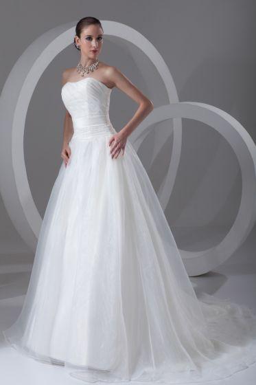 Organza Volang Axelbandslosa Domstol Tag Balklänning Kvinnor En Linje Brudklänningar Bröllopsklänningar