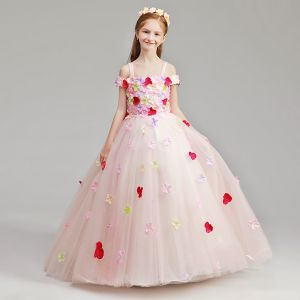Flower Fairy Pearl Pink Flower Girl Dresses 2019 A-Line / Princess Shoulders Off-The-Shoulder Short Sleeve Appliques Flower Floor-Length / Long Ruffle Wedding Party Dresses