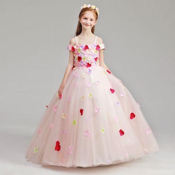 5054ed0687e Flower Fairy Pearl Pink Flower Girl Dresses 2019 A-Line   Princess  Shoulders Off-The-Shoulder Short ...