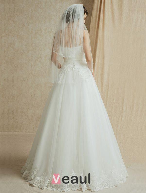 2015 A-line Strapless Appliques Lace Flower Sash Wedding Dresses