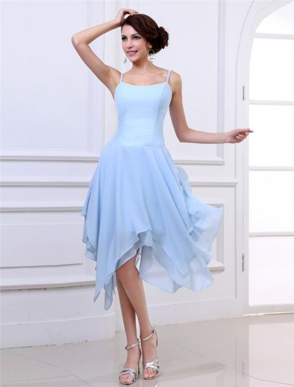 Fashion Scoop Strap Tea-Length Satin Party Cocktail Dresses