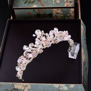 Mooie / Prachtige Candy Roze Tiara Accessoires Bruidssieraden 2017 Rhinestone Metaal