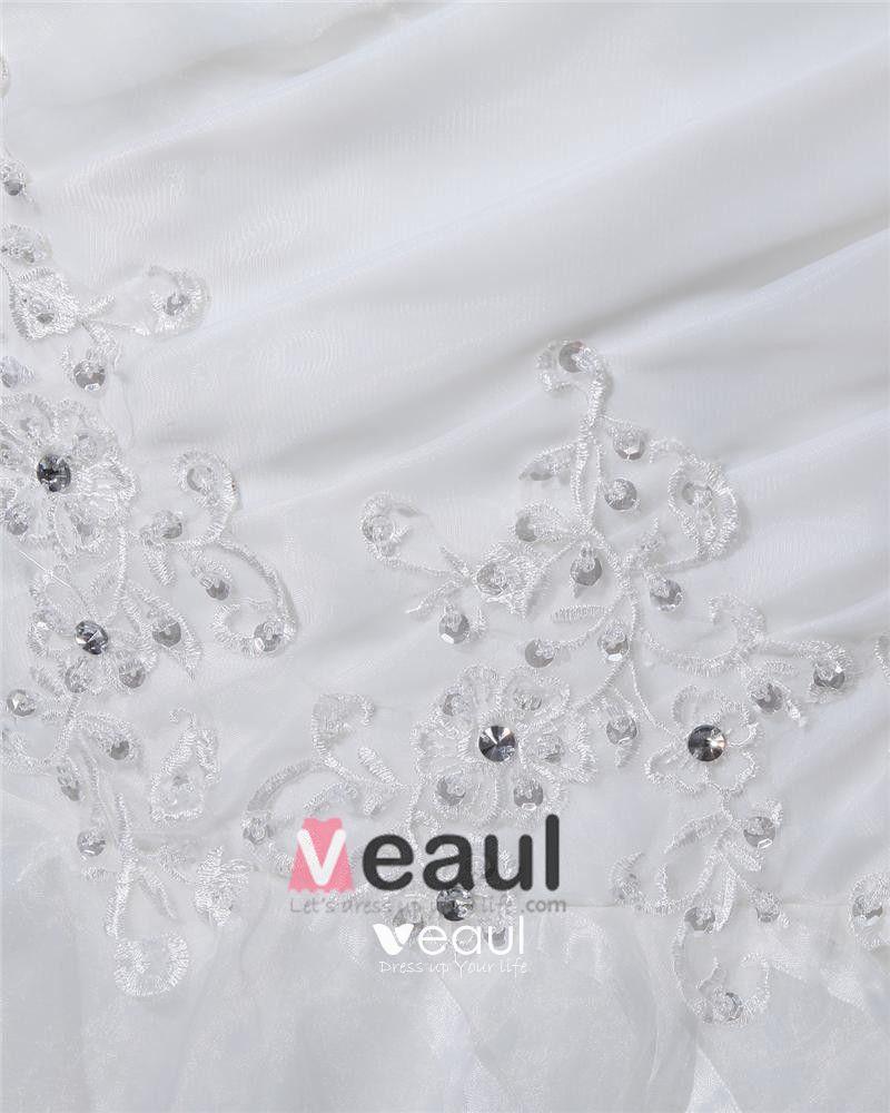 One Shoulder Floor Length Pleated Organza Beading Ruffles Mermaid Wedding Dress