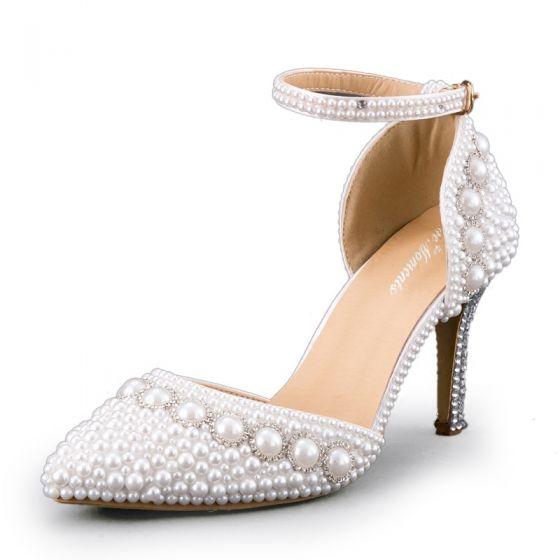 Charmant Ivoire Perle Chaussure De Mariée 2020 Bride Cheville 8 cm Talons Aiguilles À Bout Pointu Mariage Talons